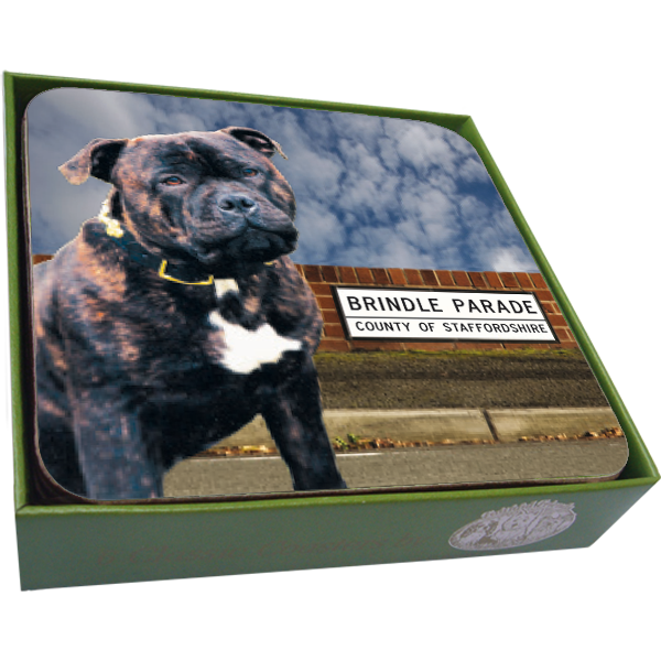 Staffordshire Bull Terrier Coasters- set of 6-0