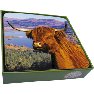 Scottish Highland Cow Coasters- set of 6-0