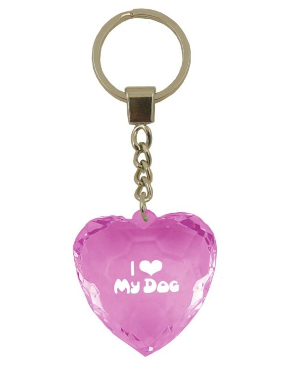 I Love My Dog – Diamond Cut Key Ring-0