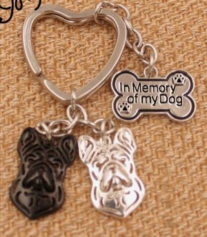French Bulldog - In Memory Charm Keychain-0