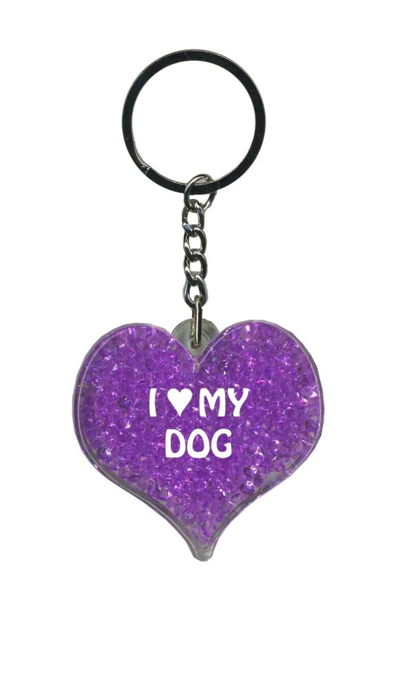 I Love My Dog –  Purple Itzy Glitzy Key Ring-0