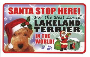 Lakeland Terrier Santa Stop Here Sign-0