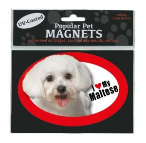 I Love My Maltese - Oval Magnet-0