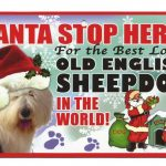 Old English Sheepdog Santa Stop Here Sign-0