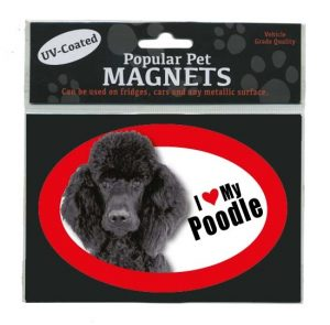 I Love My Black Poodle - Oval Magnet-0