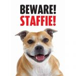 Staffordshire Bull Terrier Beware Gate/ Door Sign -0
