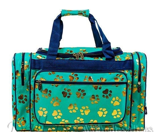 Mint Green & Gold Paw Print Duffle Bag-7920