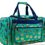 Mint Green & Gold Paw Print Duffle Bag-7921