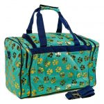 Mint Green & Gold Paw Print Duffle Bag-0