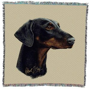 Doberman -Square Tapestry Throw-0
