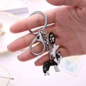 Border Collie Charm Key Chain