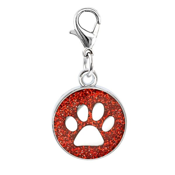 paw print round charm red